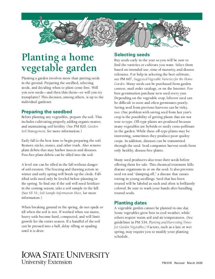 IA: Planting a home vegetable garden