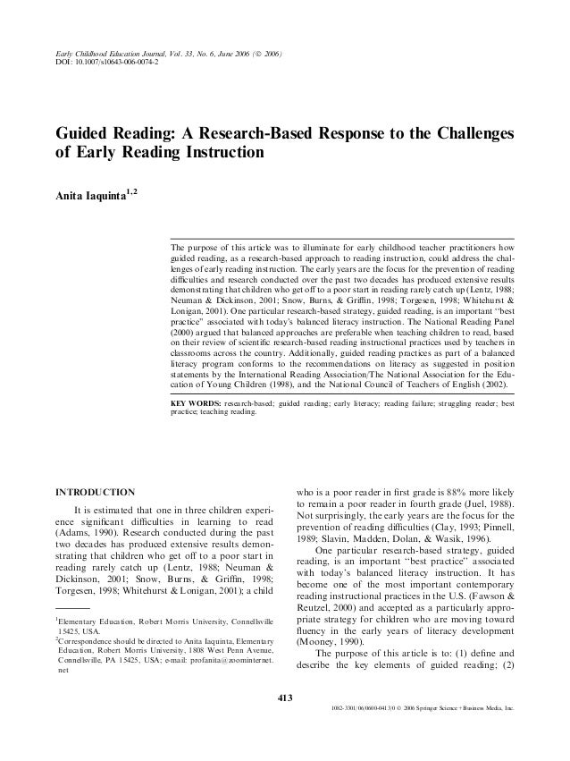 Guided Reading: A Research-Based Response to the Challengesof Early Reading InstructionAnita Iaquinta1,2The purpose of thi...