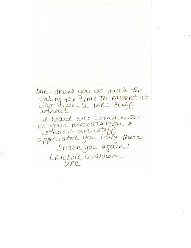 Iowa Association of Regional Councils Thank You Note for Presenting at the 2010 Annual Meeting