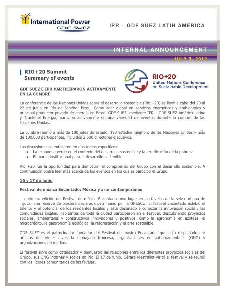 IPR – GDF SUEZ LATIN AM ERICA                                                     INTERN AL ANNOUNCEMENT                  ...