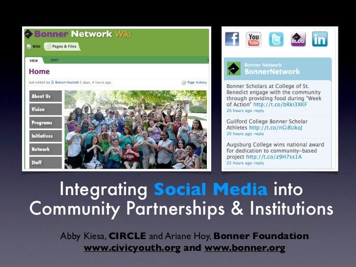 Integrating Social Media intoCommunity Partnerships & Institutions   Abby Kiesa, CIRCLE and Ariane Hoy, Bonner Foundation ...