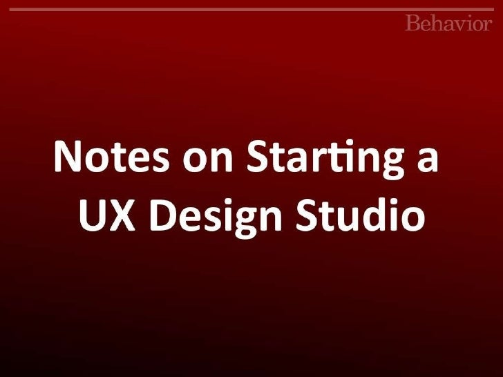 Notes on Starting a UX Design Studio