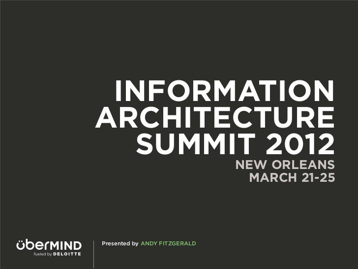 INFORMATIONARCHITECTURE   SUMMIT 2012                               NEW ORLEANS                                MARCH 21-25...