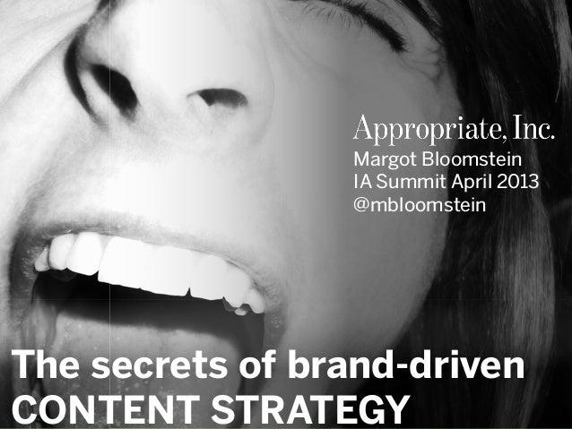 Secrets of Brand-Driven Content Strategy workshop