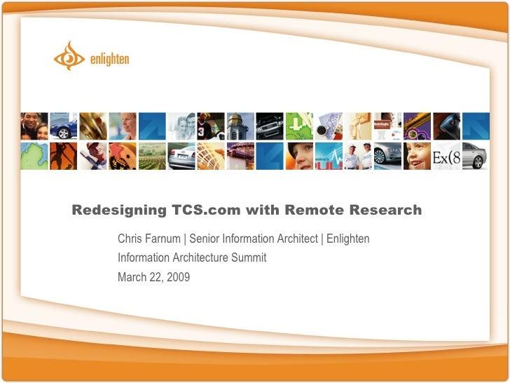 IAS 2009 TCS Redesign Case Study