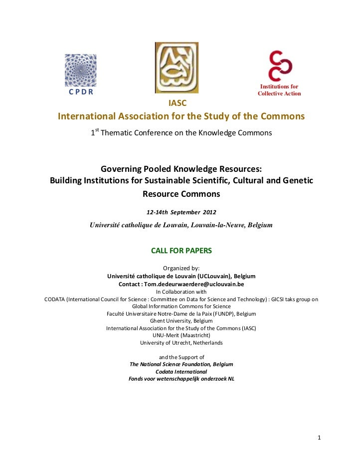 "2012 IASC Thematic Conference ""On the knowledge Commons"" call for papers"