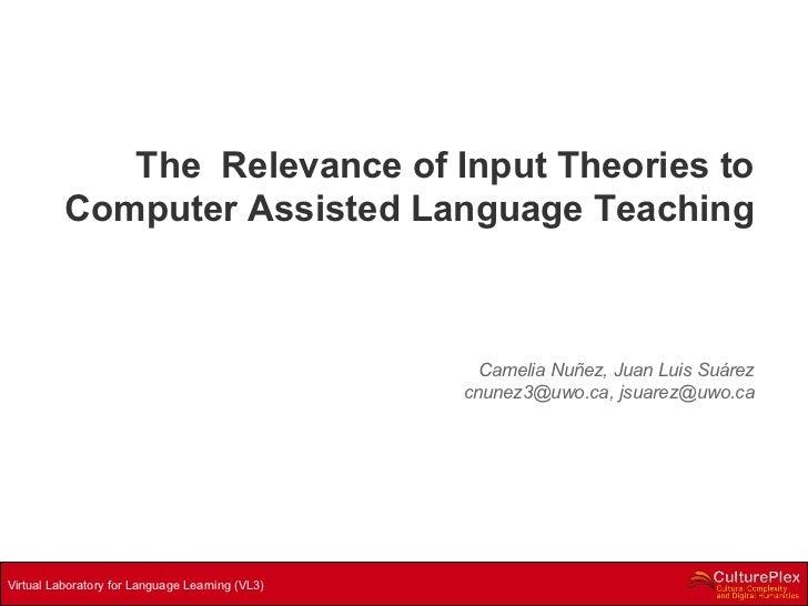 The  Relevance of Input Theories to Computer Assisted Language Teaching Camelia Nuñez, Juan Luis Suárez cnunez3@uwo.ca, js...