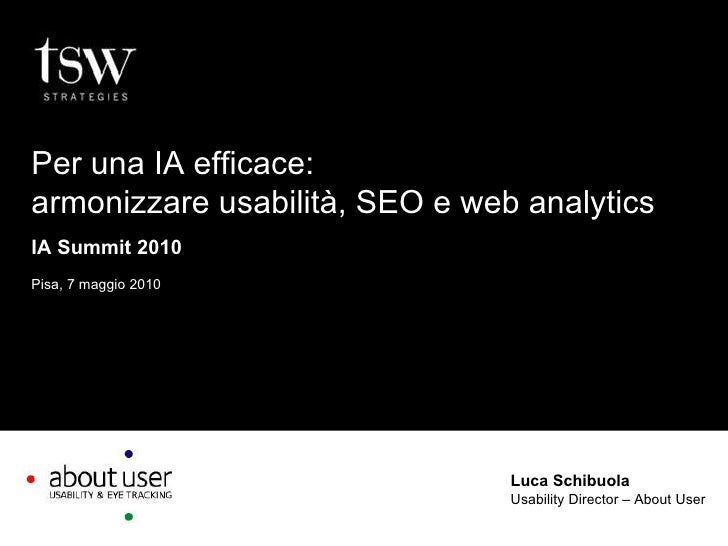 Luca Schibuola Usability Director – About User Per una IA efficace: armonizzare usabilità, SEO e web analytics IA Summit 2...