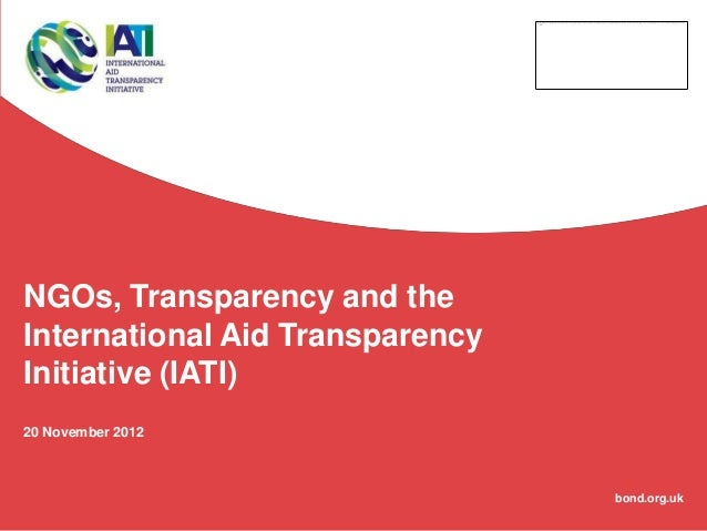 Effectiveness: Transparency/IATI Workshop, Joni Hillman, Bond