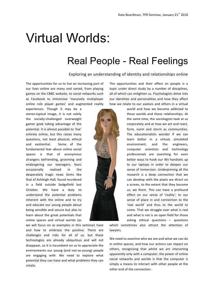 Virtual Worlds: Real People Real Feelings - Seminar Pre-reading