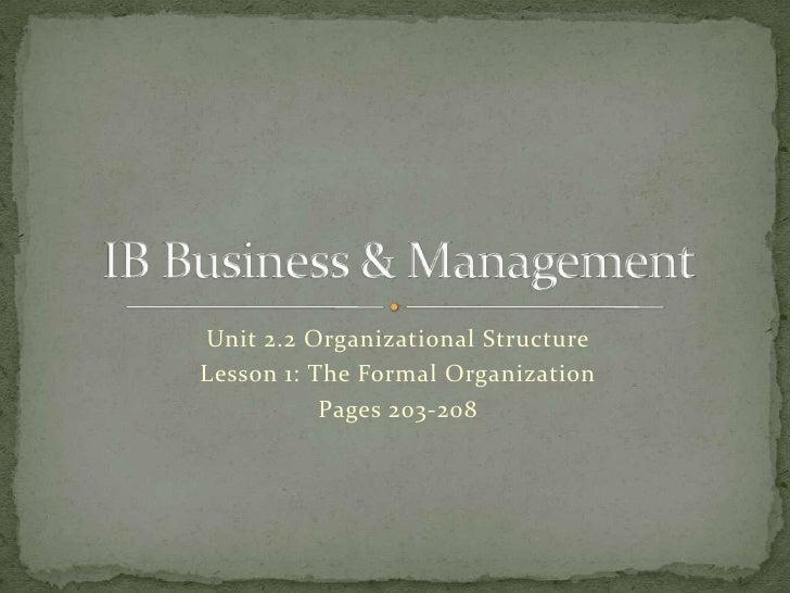 Bm Unit 2.2 Organizational Structure