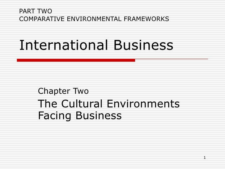 PART TWO COMPARATIVE ENVIRONMENTAL FRAMEWORKS International Business Chapter Two The Cultural Environments Facing Business