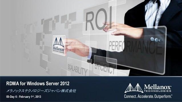 RDMA for Windows Server 2012メラノックステクノロジーズジャパン株式会社IB-Day 6 : February 1st, 2013