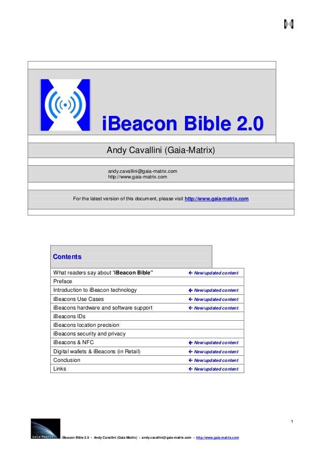 iBeacon Bible 2.0 - Andy Cavallini (Gaia-Matrix) - andy.cavallini@gaia-matrix.com - http://www.gaia-matrix.com . 1 iiiBBBe...