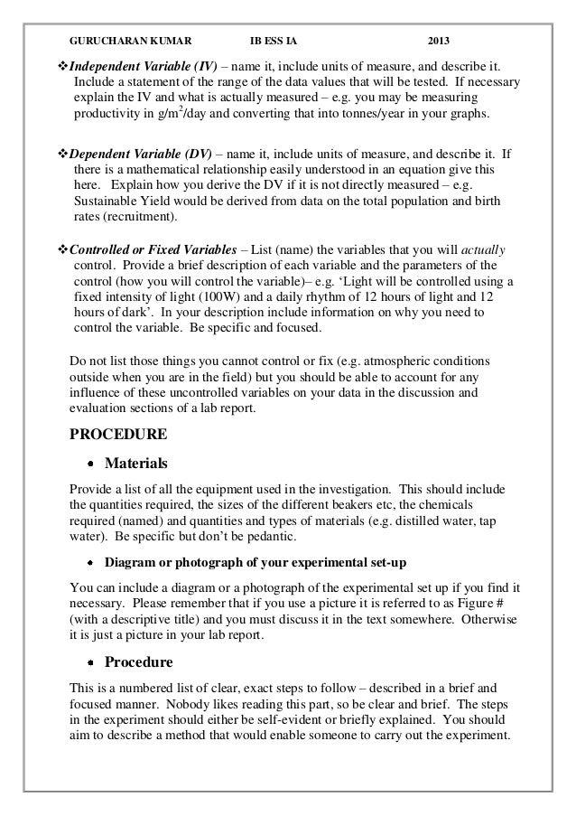 Biology Lab Report Help SlideShare
