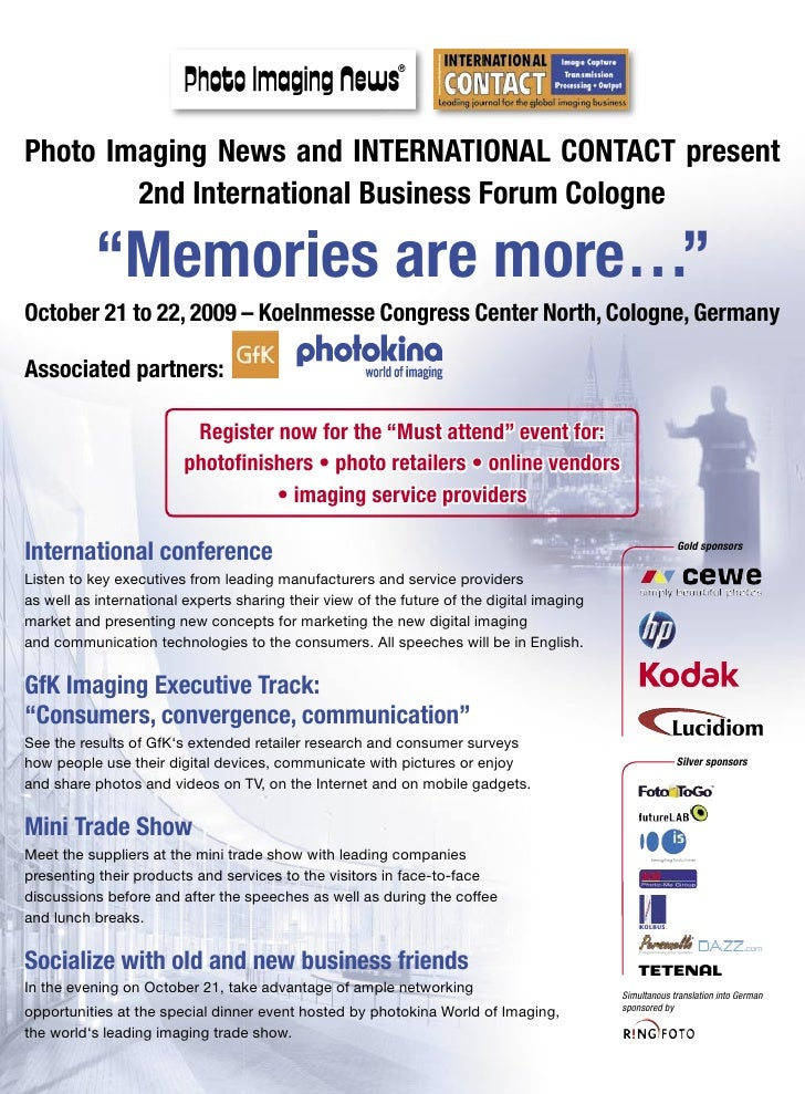 "Photo Imaging News and INTERNATIONAL CONTACT present         2nd International Business Forum Cologne             ""Memorie..."