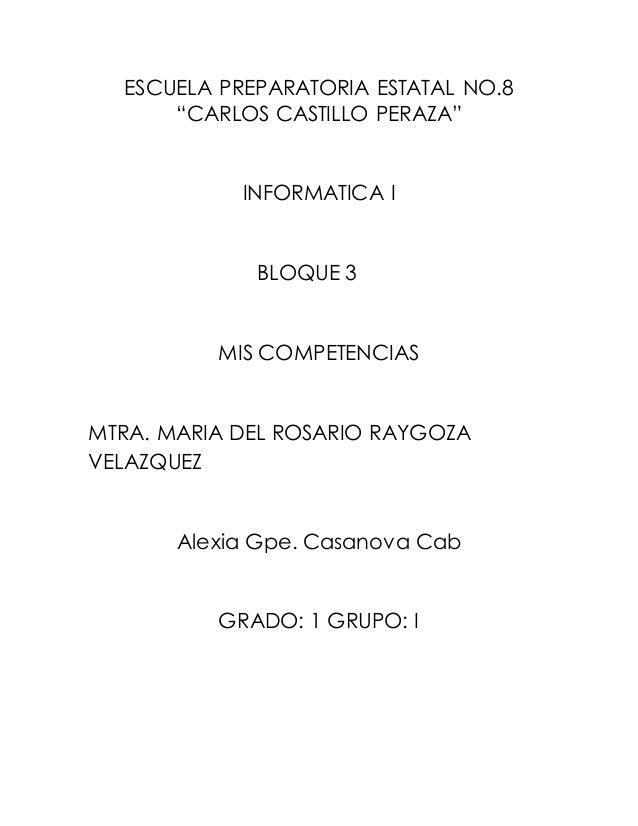 """ESCUELA PREPARATORIA ESTATAL NO.8  """"CARLOS CASTILLO PERAZA""""  INFORMATICA I  BLOQUE 3  MIS COMPETENCIAS  MTRA. MARIA DEL RO..."""
