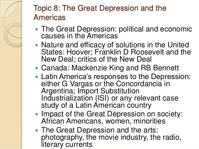 Topics for my Great Depression research paper!?