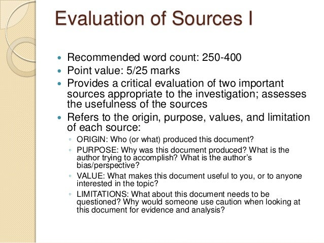 ib extended essay evaluation of sources