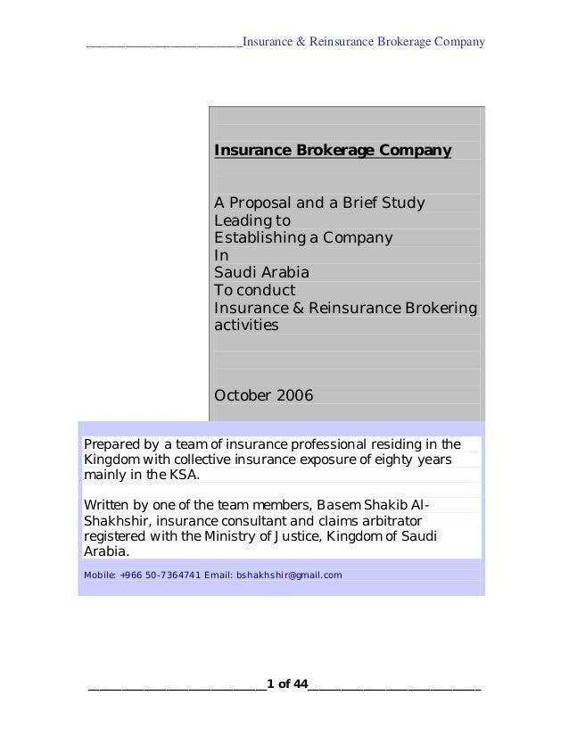 ________________________Insurance & Reinsurance Brokerage Company  Insurance Brokerage Company A Proposal and a Brief Stud...