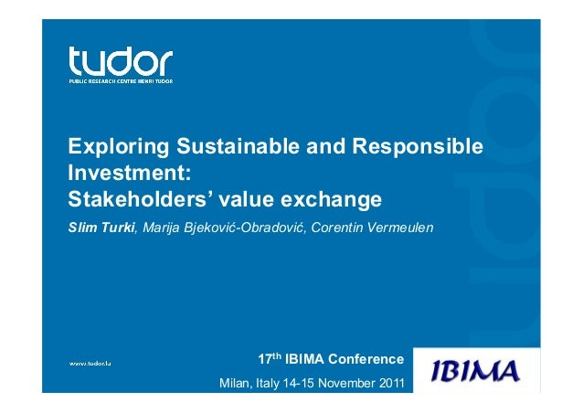 Exploring Sustainable and Responsible Investment: Stakeholders' value exchange