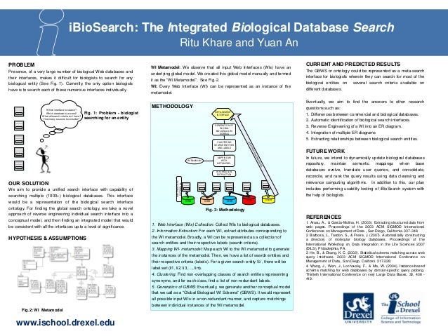 iBioSearch: The Integrated Biological Database Search Ritu Khare and Yuan An PROBLEM Presence, of a very large number of b...