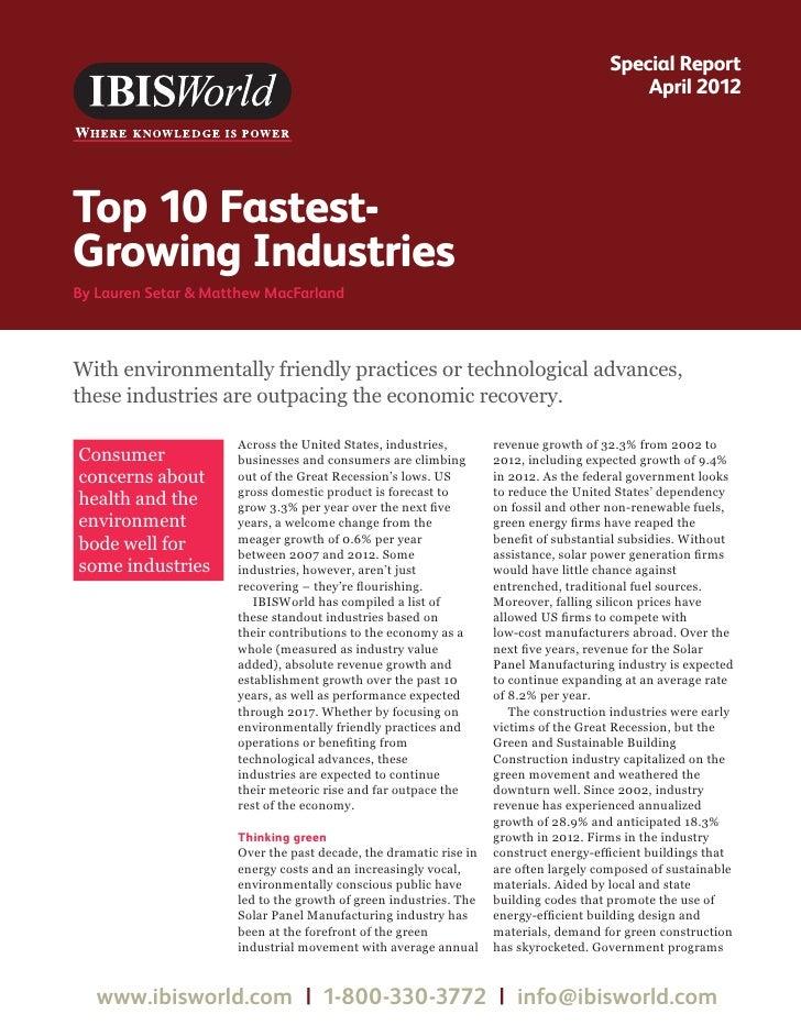 IBISWorld 2012 Fastest Growing Industries