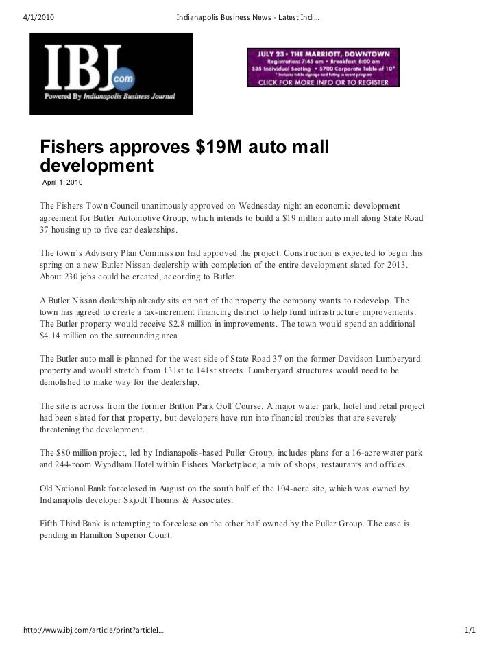 4/1/2010                                     Indianapolis Business News - Latest Indi…    Fishers approves $19M auto mall ...