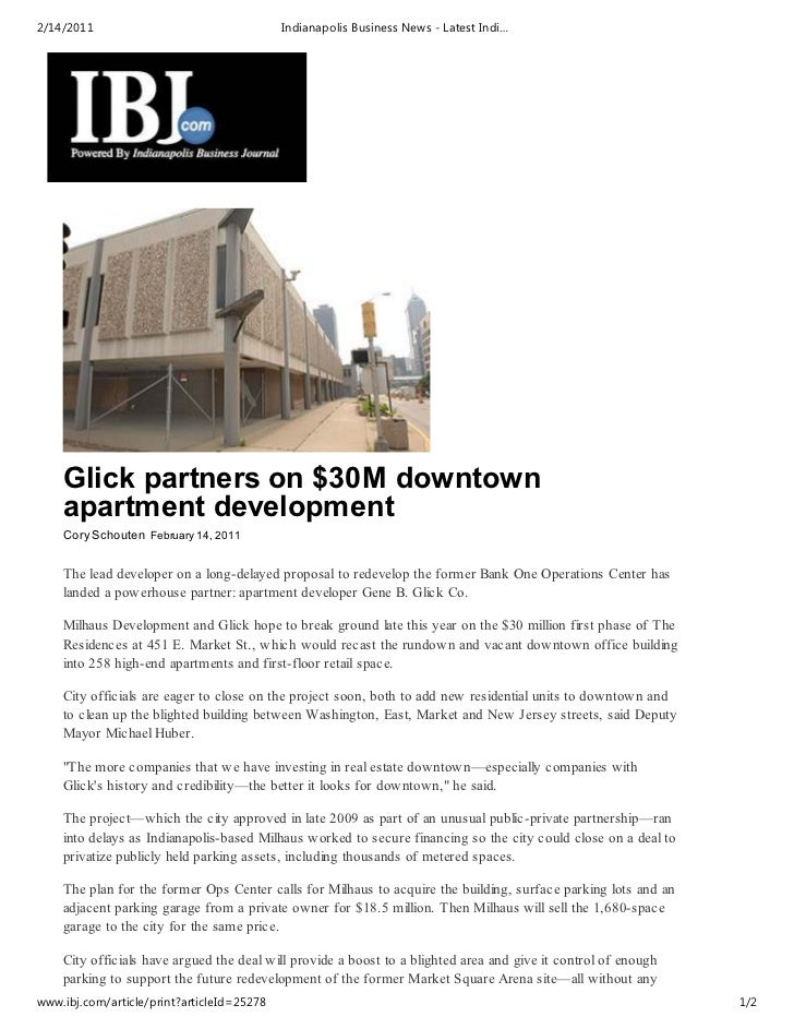 2/14/2011                                   Indianapolis Business News - Latest Indi…    Glick partners on $30M downtown  ...