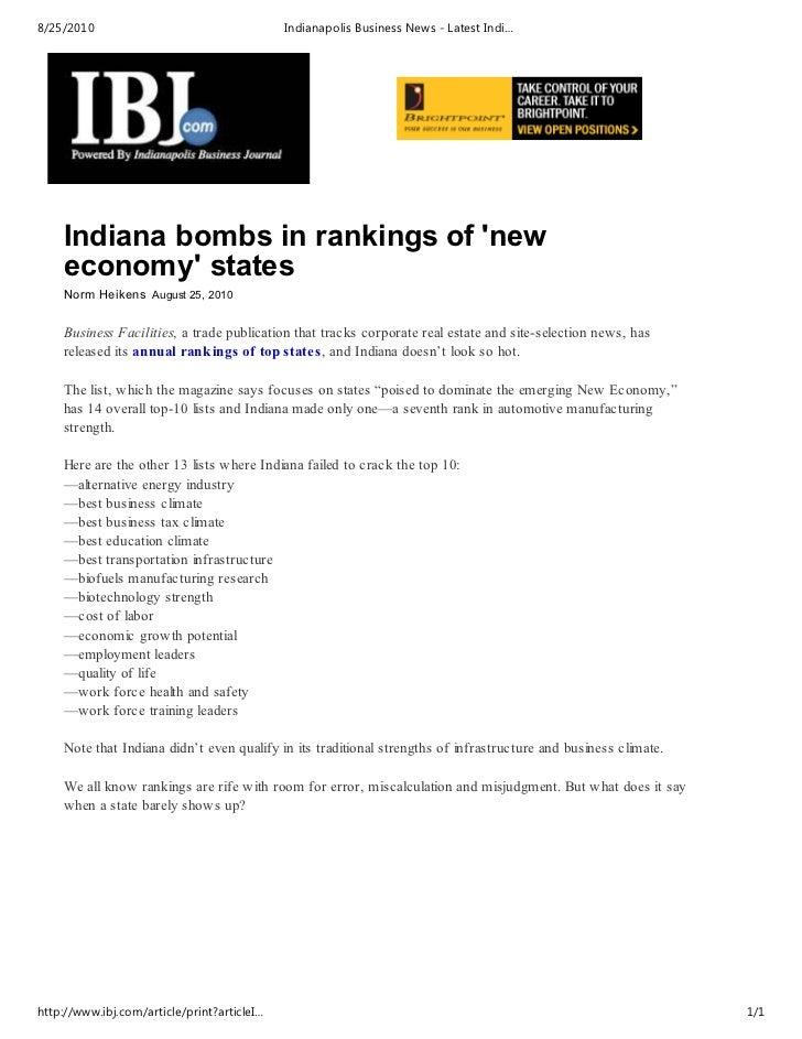 Ibj   indiana state bombs economics ratings
