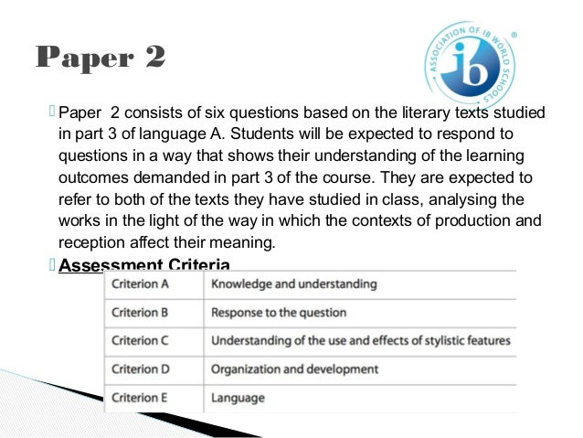 world literature essay ib criteria In addition to the internal assessments above, each ib diploma candidate writes two world literature essays of 1,000-1,500 words in length, an extended essay of 4,000 words, and at least eight self-evaluations of his/her creativity/action/ service activities.
