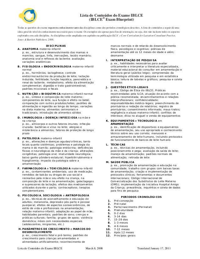 Lista de Conteúdos do Exame IBLCE March 8, 2008 Translated January 17, 2011 Lista de Conteúdos do Exame IBLCE (IBLCE® Exam...