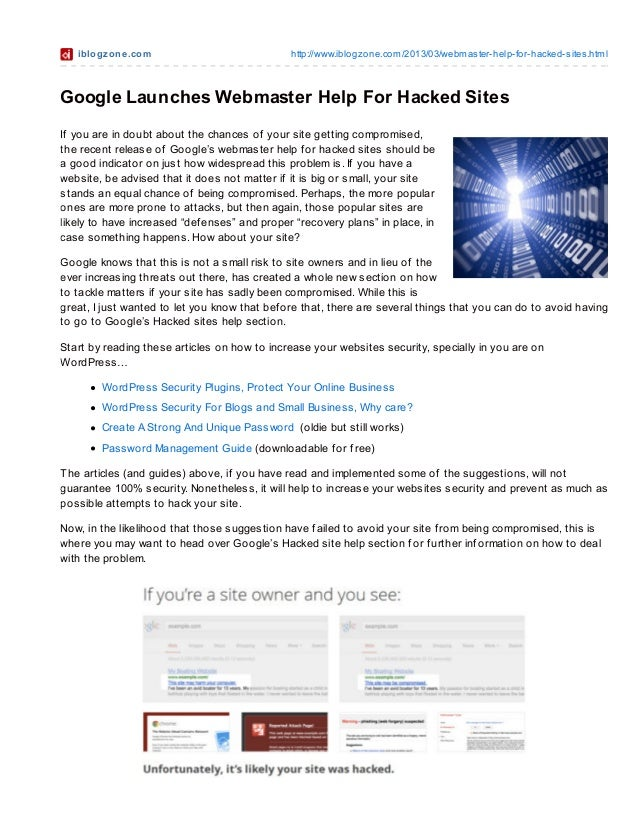 Webmaster Help For Hacked Sites