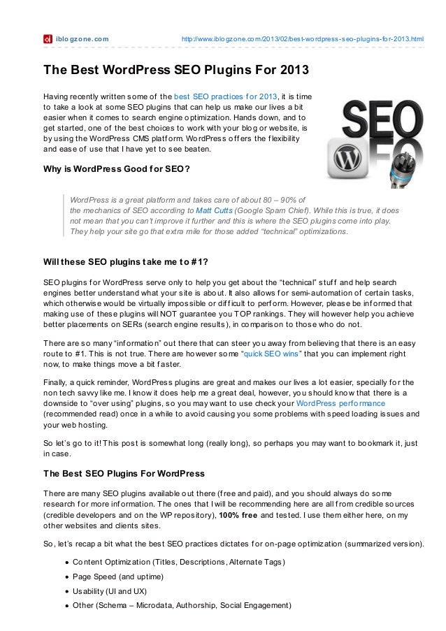 Best WordPress SEO Plugins and More for 2013