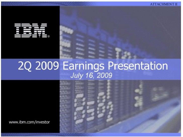 Q2 2009 Earning Report of IBM