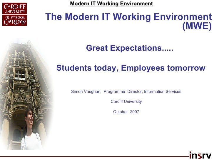 The Modern IT Working Environment (MWE) Great Expectations..... Students today, Employees tomorrow Simon Vaughan,  Program...