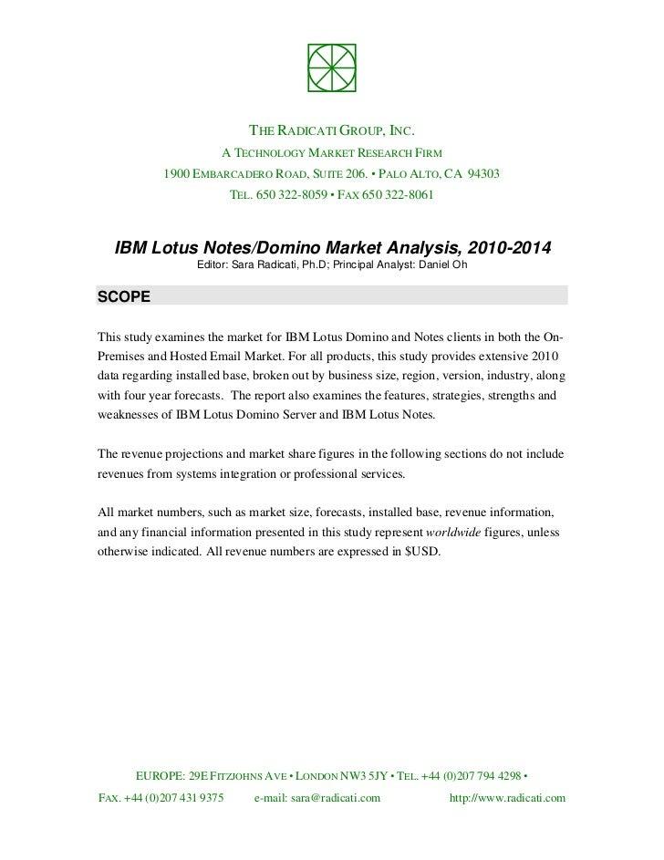 Radicati Analisys on IBM Lotus Notes and Domino 2010-2014
