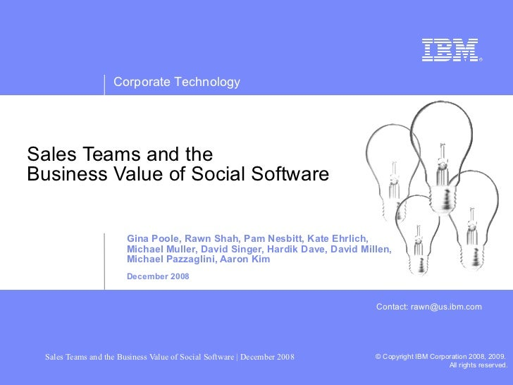 Sales Teams And Value Of Social Software (IBM)