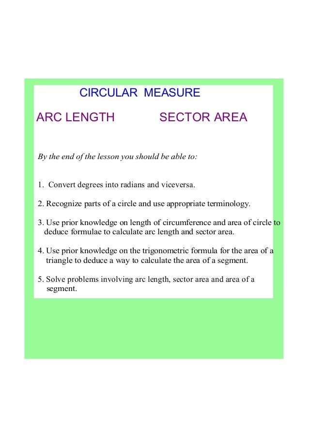 IB Maths Radians, arc length & sector area