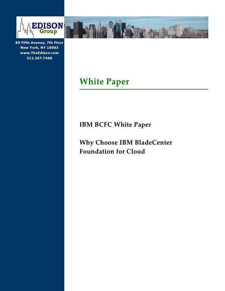 IBM BCFC White Paper - Why Choose IBM BladeCenter Foundation for Cloud