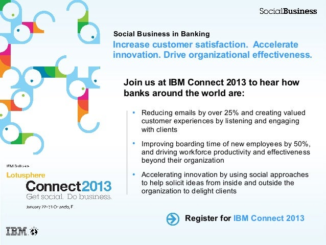 Social Business in BankingIncrease customer satisfaction. Accelerateinnovation. Drive organizational effectiveness.  Join ...