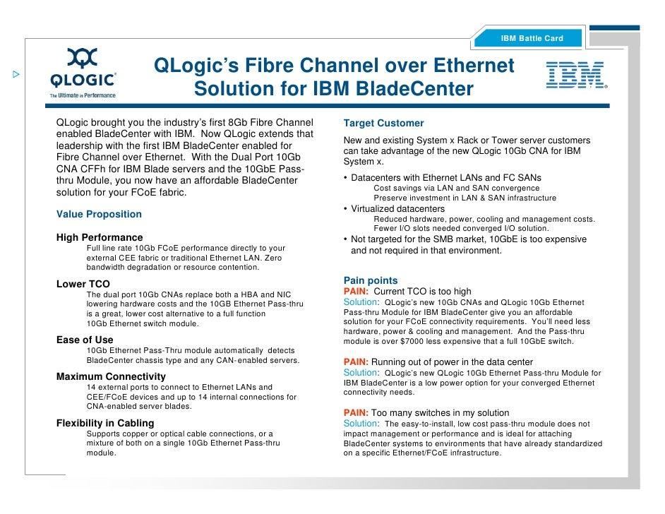 IBM Battle Card                          QLogic's Fibre Channel over Ethernet                           Solution for IBM B...