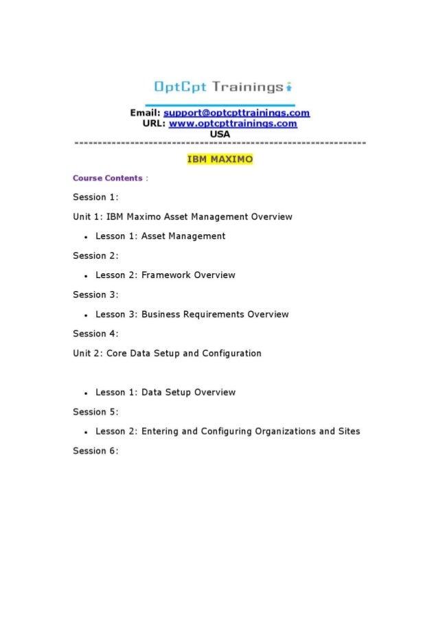 Learn   IBM MAXIMO Online Training USA   IBM MAXIMO Trainings
