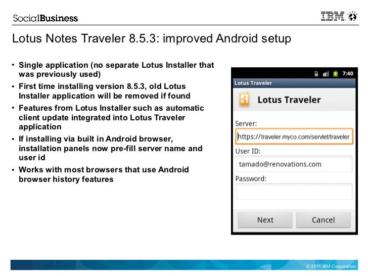 Lotus Notes Traveler Android App