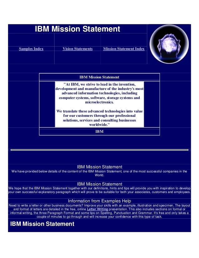 IBM Mission Statement       Samples Index                  Vision Statements            Mission Statement Index           ...