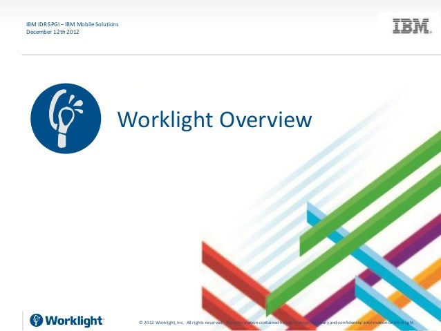 IBM IDR SPGI – IBM Mobile SolutionsDecember 12th 2012                                  Worklight Overview                 ...