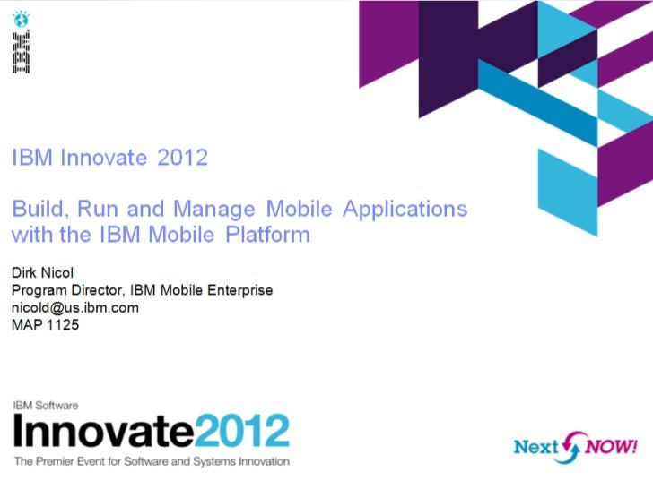 IBM  mobile strategy at Innovate 2012