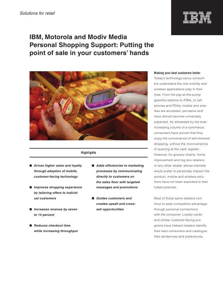 Ibm, Motorola And Modiv Media; Solutions For Retail