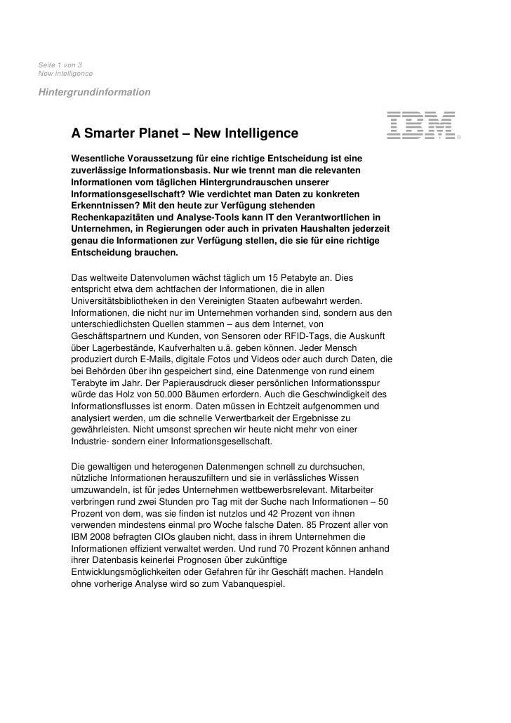 Seite 1 von 3 New intelligence  Hintergrundinformation             A Smarter Planet – New Intelligence          Wesentlich...
