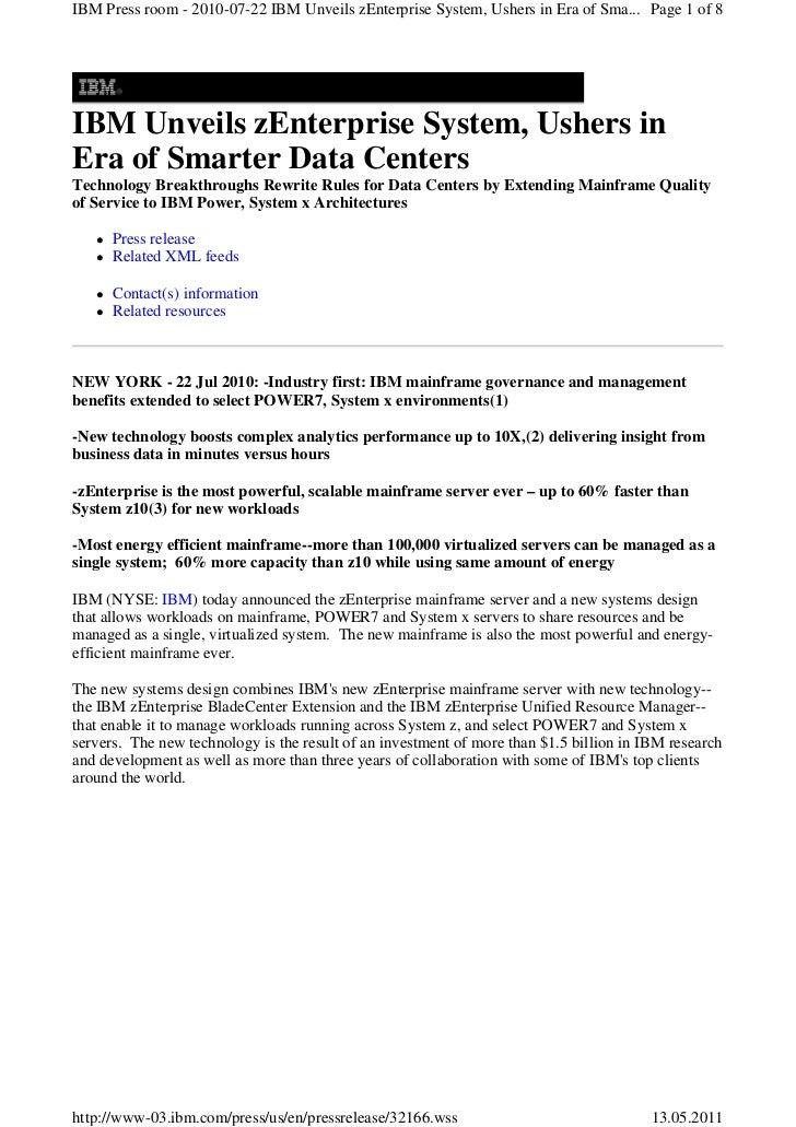 IBM Press room - 2010-07-22 IBM Unveils zEnterprise System, Ushers in Era of Sma... Page 1 of 8IBM Unveils zEnterprise Sys...